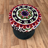 Black Velvet Decorative Vintage Footrest Stool Seat