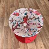 Bird of Prey Velvet Decorative Vintage Footrest Stool Seat