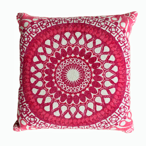 Block Print Daisy Pink Mandala Cotton Dari Cushion 50 cms