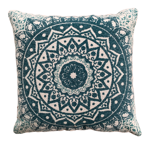 Block Print Daisy Green Mandala Cotton Dari Cushion 50 cms