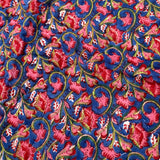 Blue Red Flower Print Cotton Reversible Padded Baby Quilt Bedspread
