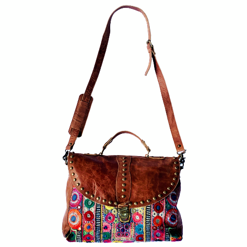Indian Handmade Bohemian Vintage Tribal Banjara Hippy Shoulder Cross Body Notebook Bag-7