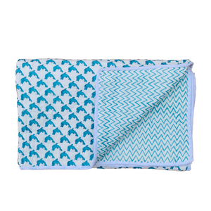 Blue Fish Print Cotton Reversible Padded Baby Quilt Bedspread