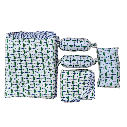Umbrella Print Cotton Reversible Baby Kantha Quilted Cot Crib Set
