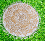 Bohemian Gold Printed Cotton Mandala Beach Roundie