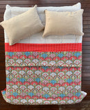 Indian Handmade Red Shell Print Reversible Kantha Quilt Bedspread