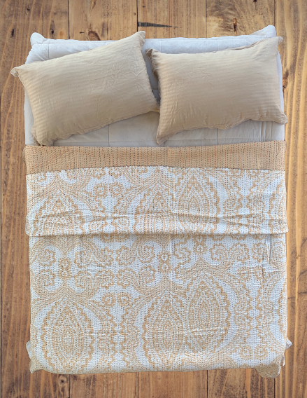 Handmade Reversible Royal Beige Indian Ikat Kantha Quilt Bedspread