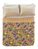 Indian Handamde Reversible Tropical Brown Kantha Quilt Bedspread