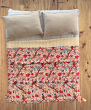Handmade Bird of Prey Beige Cotton Reversible Kantha Quilt Bedspread Throw