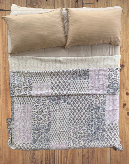 Purple Hand Block Patchwork Kantha Quilt