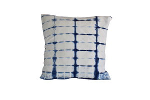 Hand Made Indigo Tie and Dye Stripe White Cushion Cover 40cms