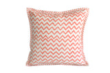 Zigzag Coral Hand Block Print Cushion Cover