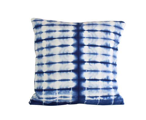 Hand Made Indigo Tie and Dye Stripe Cushion Cover 40cms