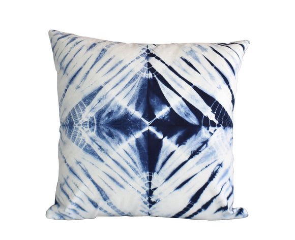 Hand Made Indigo Tie and Dye Star Cushion Cover 40cms