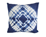Hand Made Indigo Tie and Dye Diamond Cushion Cover 40cms
