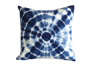 Hand Made Indigo Tie and Dye Circle Cushion Cover 40cm