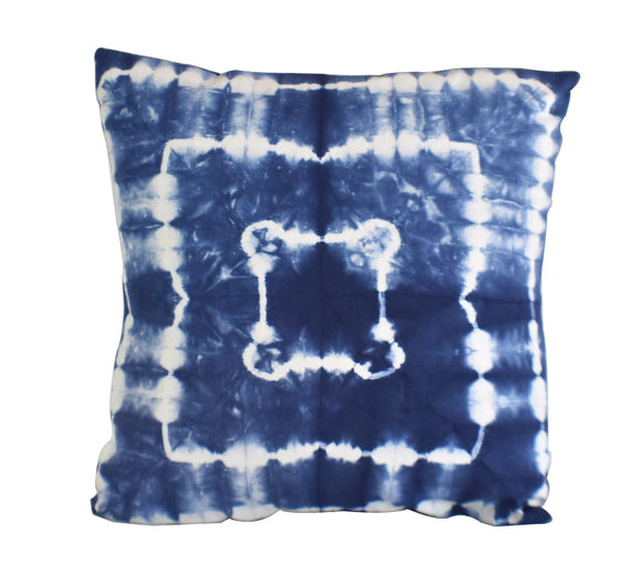 Hand Made Indigo Tie and Dye Square Cushion Cover 40cms