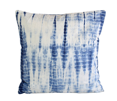 Hand Made Indigo Tie and Dye Shibori Cushion Cover 40cms