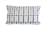 Hand Made Indigo Tie and Dye Stripe White Pillow Cover