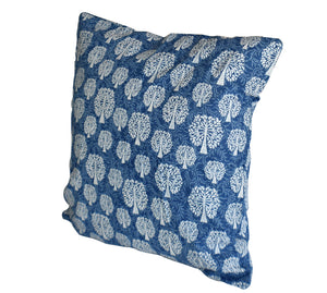 Tree of Life Indigo Hand Block Print Cushion Cover 50cm