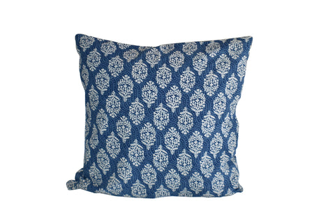 Booti Indigo Hand Block Print Cushion Cover 50cm