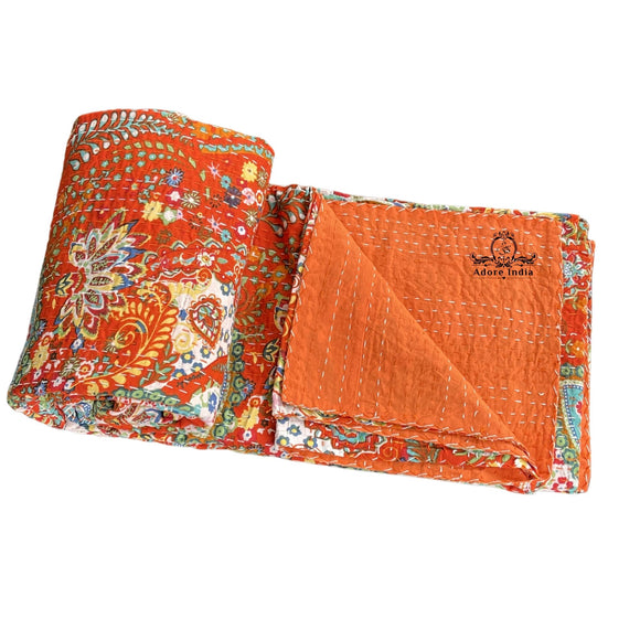 Handmade Orange Paisley Print Indian Cotton Reversible Kantha Quilt Bedspread Throw