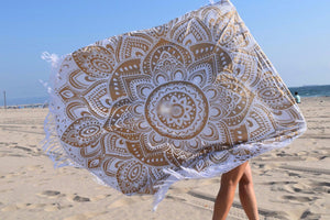Passion Gold Mandala Beach Round Throw