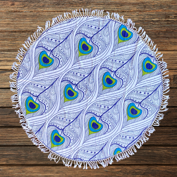 Peacock Mandala Beach Round Throw