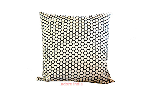 Black Polka Dot Block Print Cushion