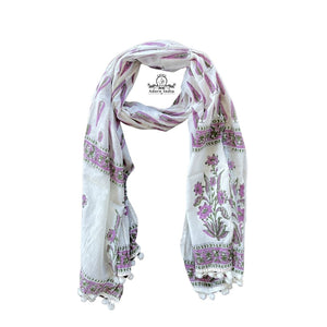 Boota Block Print Purple Floral Cotton Pompom Scarf