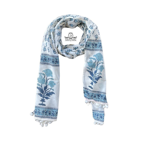 Blue Block Print Flora Charming Cotton Pompom Scarf