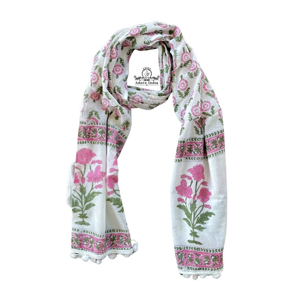 Pink Block Print Floral Royal Cotton Pompom Scarf