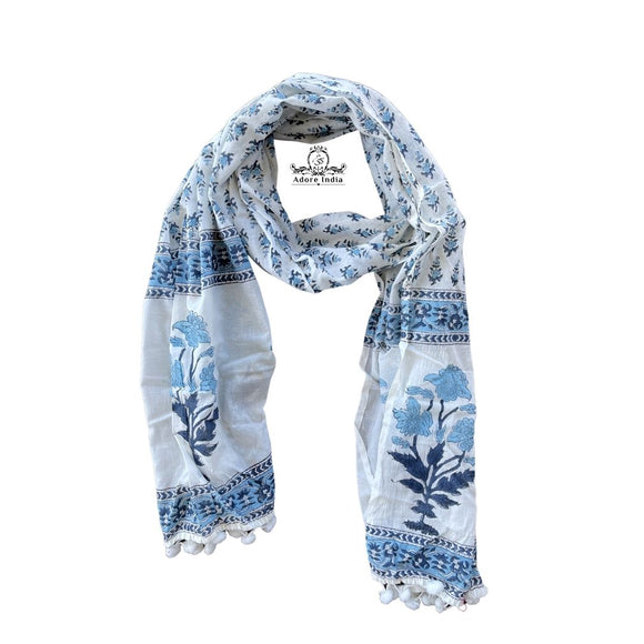 Blue Block Print Floral Gem Cotton Pompom Scarf