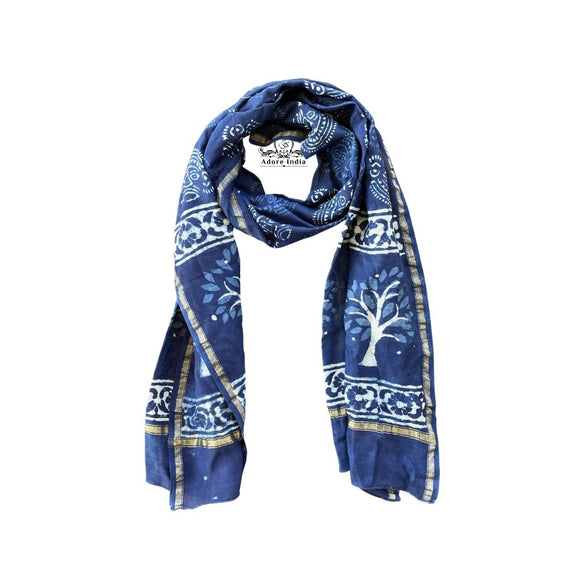 Indian Handmade Indigo Chanderi Vintage Silk Tree of Life Boho Scarf Stole