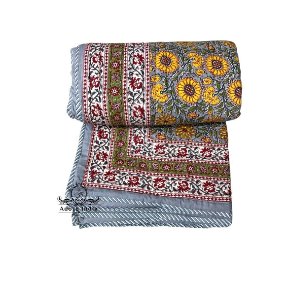 Yellow Grey Floral Cotton Padded Kantha Bedspread Quilt Comforter