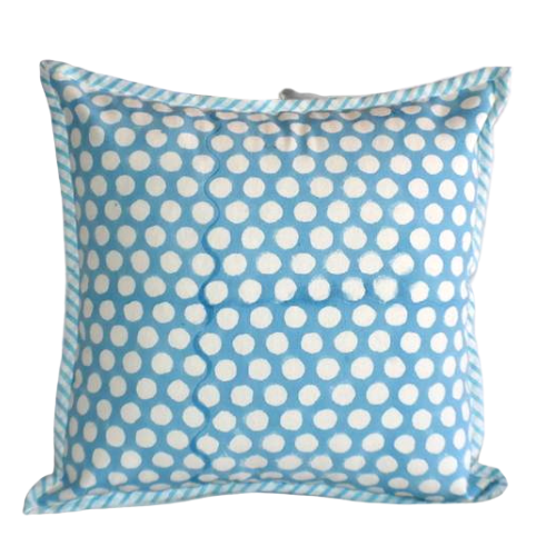 Turquoise Dot Hand Block Print Cushion Cover 40cms