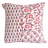 Coral Hand Block Printed Patchwork Cushion Cover