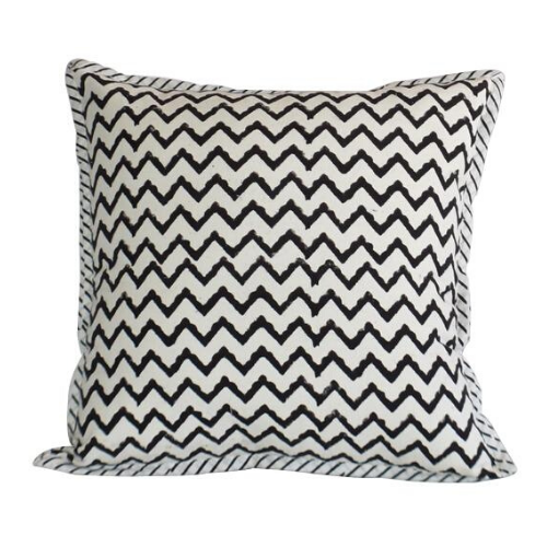 Canvas Hand Block Print Cushion Cover- Black