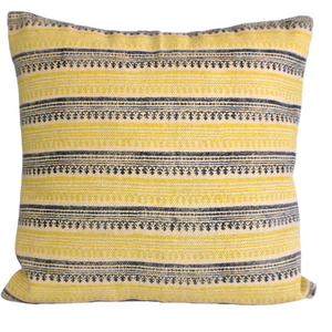 Mustard Stripe Block Print Cotton Dari Cushion Cover 45cm