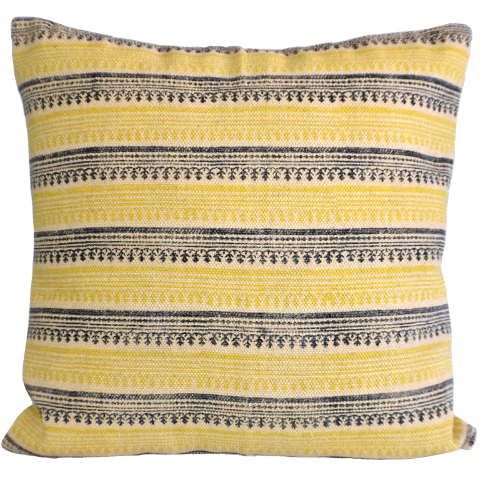 Mustard Stripe Block Print Cotton Dari Cushion Cover 65cm