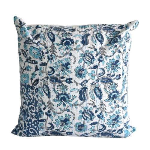 Blue Hand Block Printed Patchwork Cushion Cover