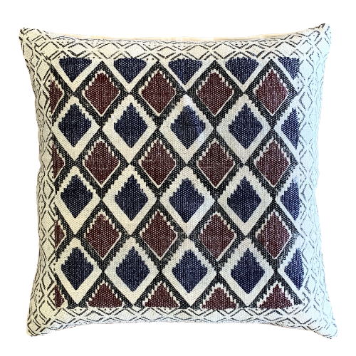 Geometrical Block Print Indigo Burgundy Cotton Dari Cushion Cover Euro Size 65x65cm