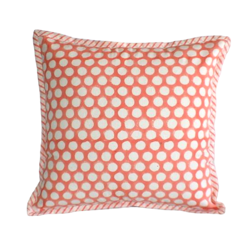 Coral Dot Hand Block Print Cushion Cover 40cms