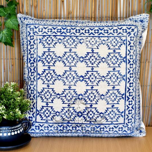 Block Print Aztec Indigo Cotton Dari Cushion Cover Euro Size 65x65cm