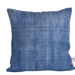 Solid Indigo Block Print Cotton Dari Cushion Cover 45cm