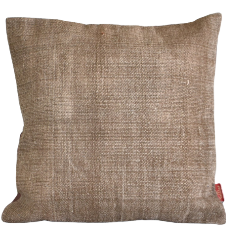 Solid Brown Block Print Cotton Dari Cushion Cover 45cm