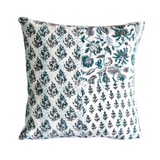 Handmade Mint Hand Block Printed Patchwork Cotton Cushion Cover