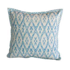 Light Blue Hand Block Ikat Print Cushion Cover 40cms