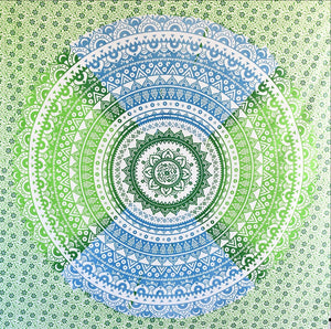 Shri Blue Green Ombre Mandala Throw