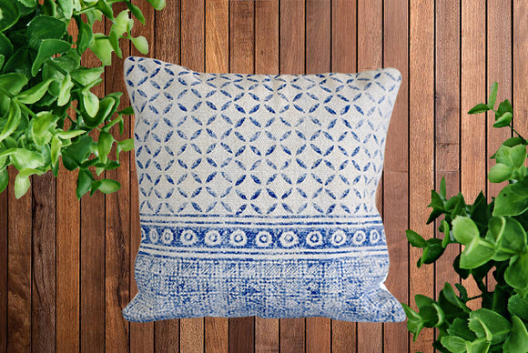 Indigo Geometry Block Print Cotton Dari Cushion Cover 45cm